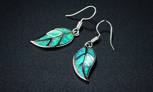 Mossy Green Opal Leaf Earrings in Rhodium Plating