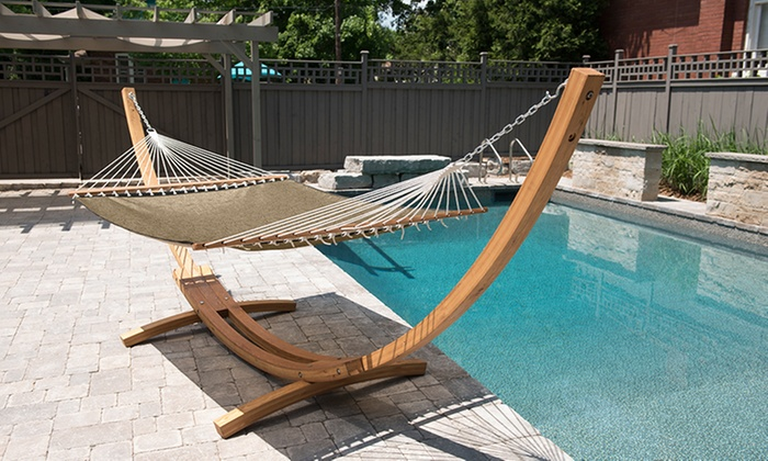 vivere 15 ft arc juniper wood stand with poolside hammock vivere 15 ft