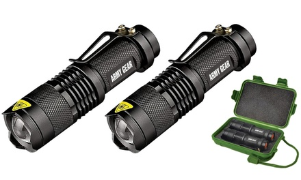 Army Gear 500-Lumen Tactical Military Flashlight Set with Carrying Case (3-Piece)