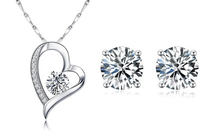 Sreema London Dazzling Heart Earrings and Necklace Set