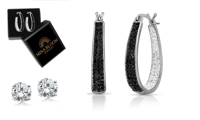 3f50b9eb5 Up To 83 Off On Swarovski Crystal Hoop Earrings Groupon Goods