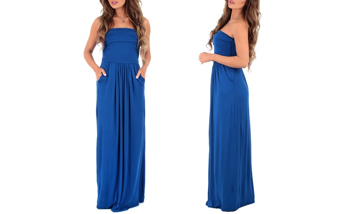 d90e8a9e67351 Up To 67% Off on Strapless Ruched Maxi with Plus   Groupon Goods