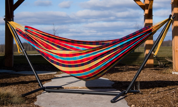 vivere 9 ft  double hammock with stand  vivere 9 ft  double hammock with     up to 17  off on 9 ft  double hammock with stand   groupon goods  rh   groupon