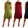 Peach Couture Classic Women's Fold-Over Collar A-Line Dress