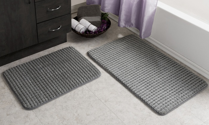 Memory Foam Woven Bath Mat Set 2 Piece