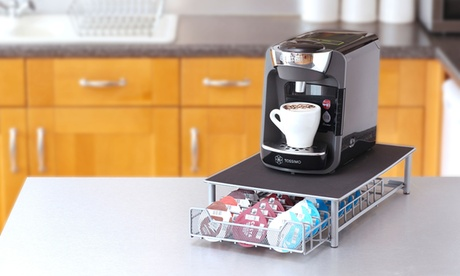 Soporte para máquina de café con cajón extraíble para cápsulas Tassimo y superficie antideslizante