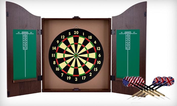 Dartboard Cabinet Set: $49 For A Dartboard Cabinet Set ($99.99 List Price)  ...