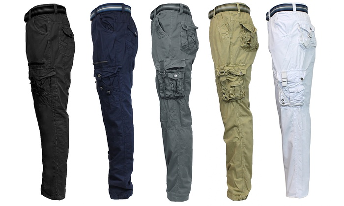 Men's Cargo Utility Pants & Belt | Groupon Goods