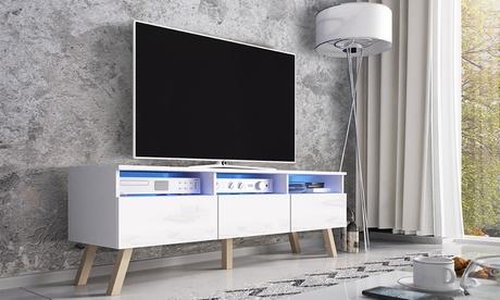 Mueble de TV de madera Lavello con iluminación LED