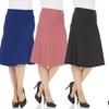 Pink Mint Women's High Waist Tummy Control A-Line Midi Skirt