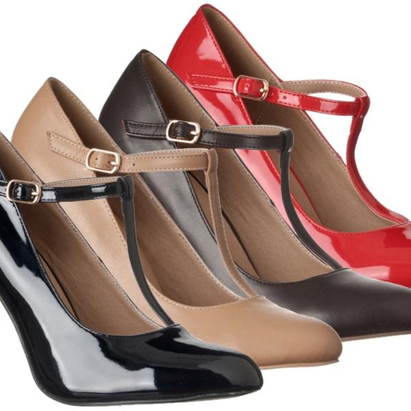 Sadie Round Toe T-Strap High Heel Pumps