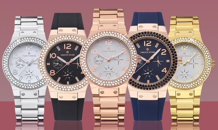Timothy Con Silicone Cristales Reloj Stone Facon Swarovski I9eDH2YWEb