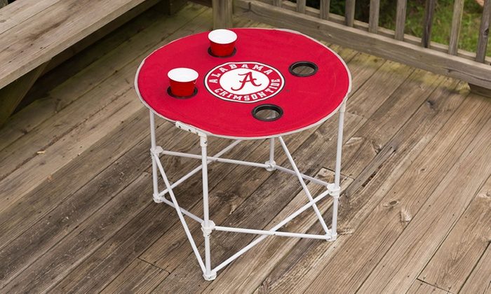NCAA Portable Round Table with Carrying Case