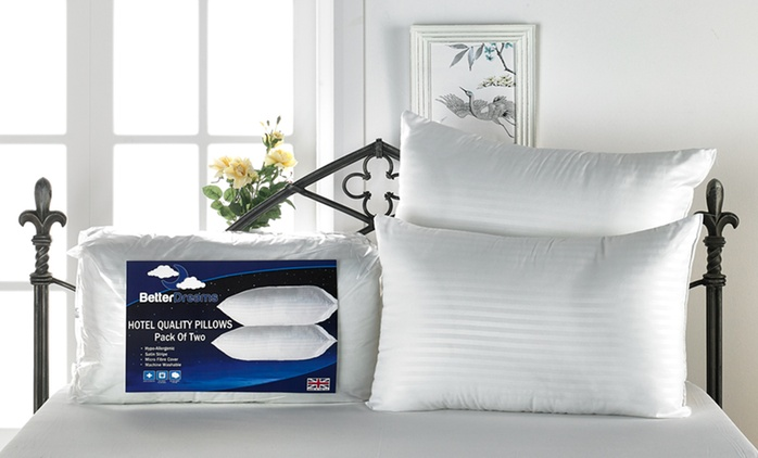 Better Dreams Hotel Quality Extra Plump Satin Stripe Four-Pack Pillows for £10.99 (73% Off)