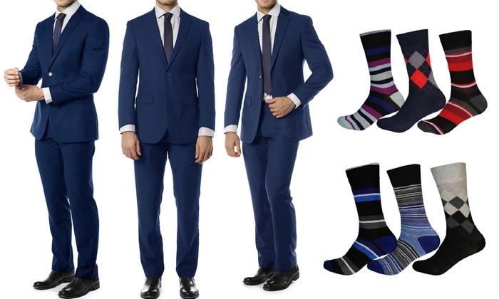 Alberto Cardinali Men's Electric Blue Slim Fit Suit with Free Socks