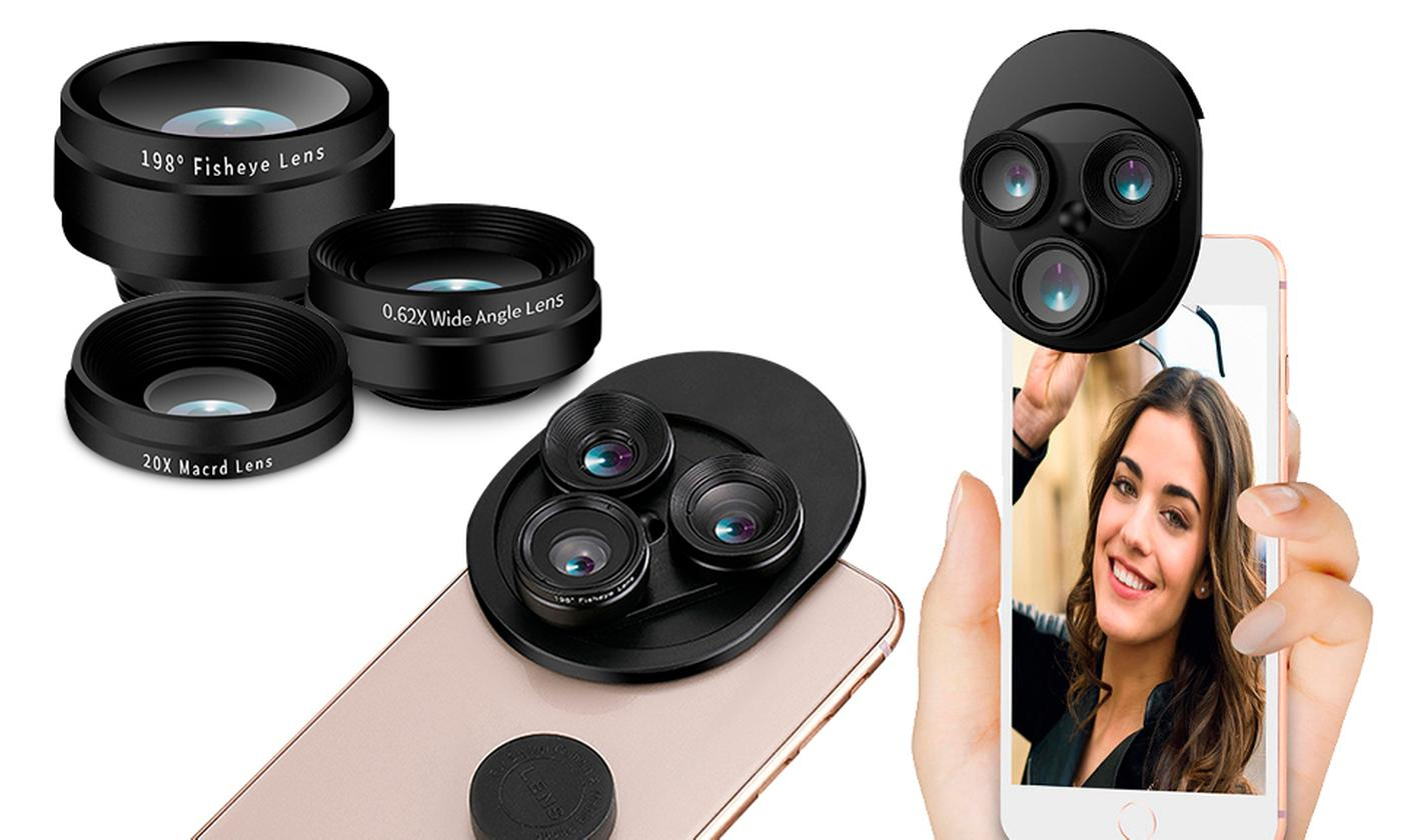 One or Two Aquarius Three-in-One Phone Camera Lenses with Fisheye and Wide-Angle Modes