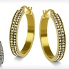 Up to 86% Off Double-Row Hoop Earrings with Simulated Diamonds