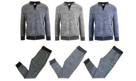 Men's Marled Tech Fleece Stretch Sweater Jacket and Joggers Set 6ab878de-e564-43c3-a26d-c43cef802022