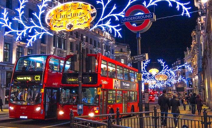 Londres: 1journée de shopping au marché de Noël avec transport en autocar et traversée de la Mancheen ferry pour 1 pers