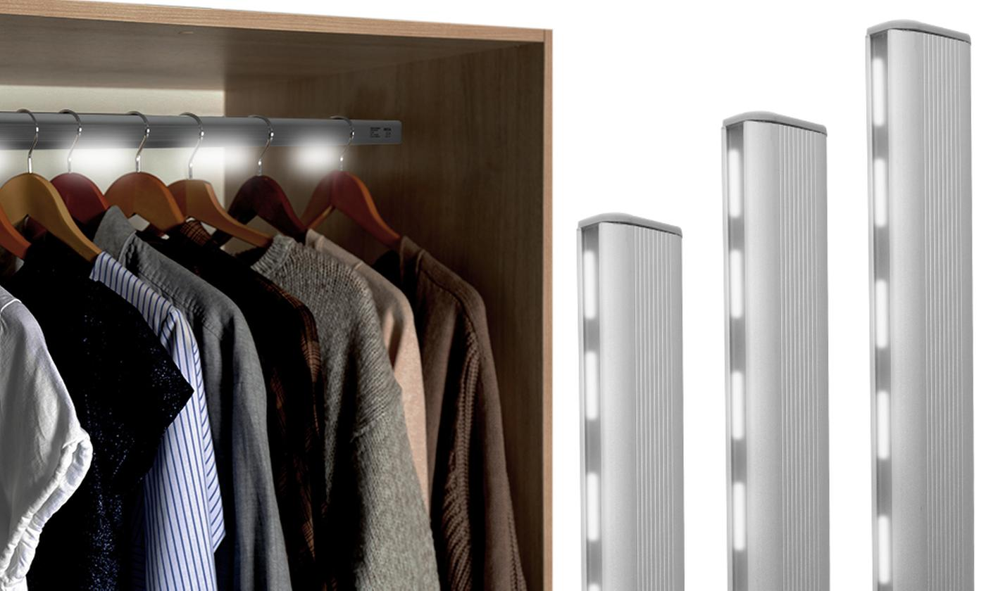 One, Two or Three Jocca LED Wardrobe Rails with Motion Sensor