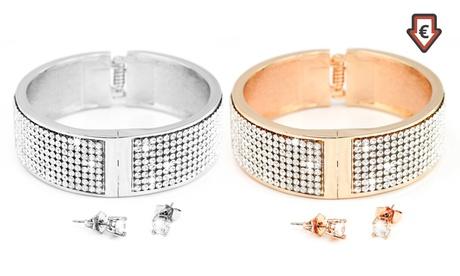 1 o 2 sets de pulsera y pendientes Paris adornadas con cristales
