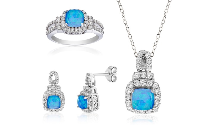 4f4dcc521 Nina & Grace Blue Opal and Cubic Zirconia Set in Sterling Silver