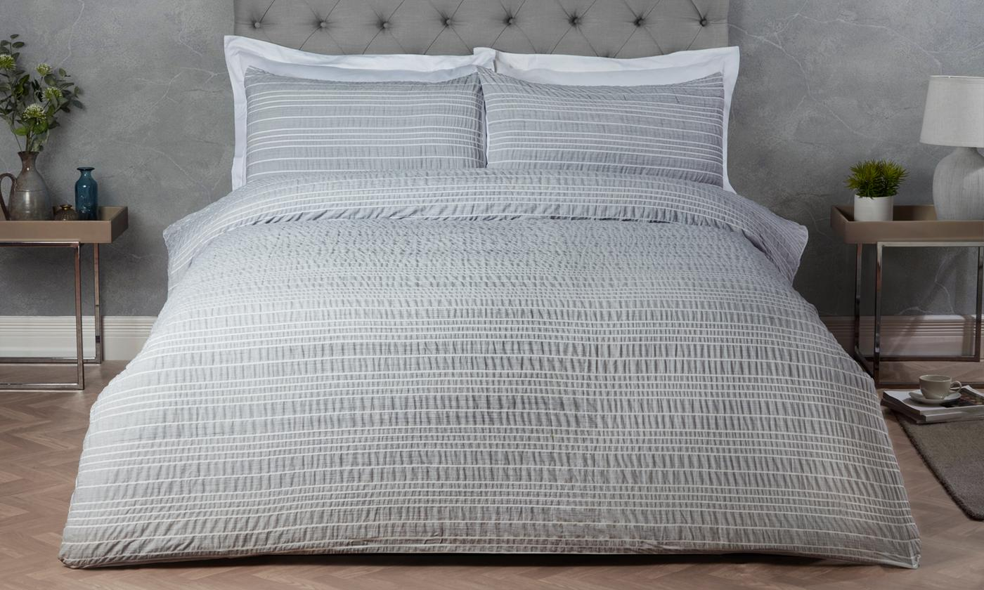 Pieridae White Collection Marl Stripe Duvet Set for £11
