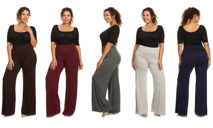 25f117c286 Women s Plus Size Wide-Leg Solid Palazzo Pants