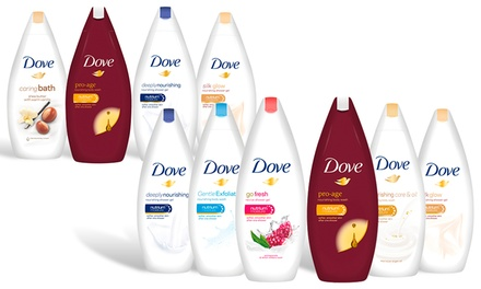 Six Bottles of Dove 250ml or 500ml Body Wash Gels