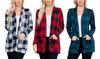 Riah Fashion Women's Long-Sleeve Buffalo Plaid Pocket Cardigan