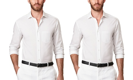 Verno Men's Classic-Fit Wrinkle-Resistant White Dress Shirts (2-Pack)