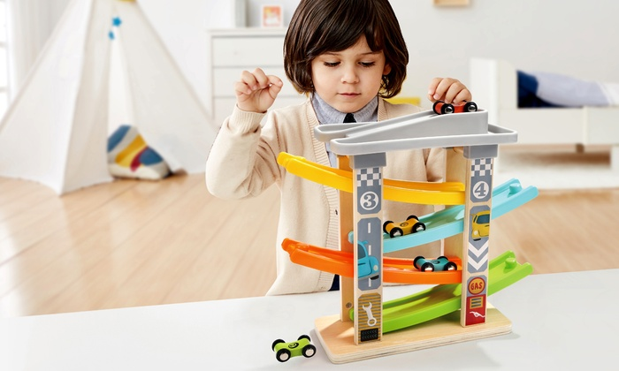 Milly & Ted Wooden Ramp Racer and Four Cars Set