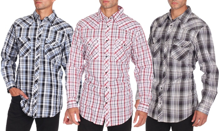 Men's Plaid Button-Down Long-Sleeve Shirts | Groupon
