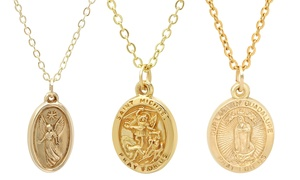 10K Gold Religious Medallion Pendant Necklace by Moricci