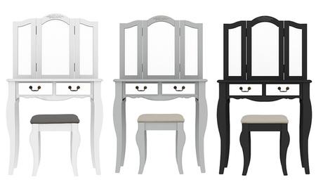 Set de tocador de madera Alice con cajones, espejo y taburete
