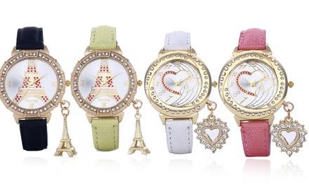 Relógio feminino com pendente de modelo Eiffel Tower ou Heart por 14,99€