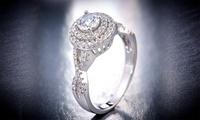 L'Artiste Sterling Silver Split Shank Ring Made with Swarovski Elements