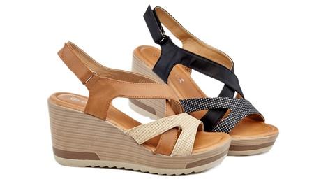 8479d2a33c Lady Godiva Ariana Women's Comfort Wedge Sandals (Goods Women's Fashion  Shoes) photo