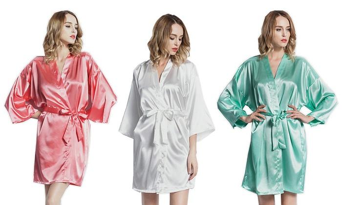Women s Short Satin Kimono Robe  7acb337ac