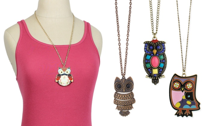ZAD Owl Necklaces or Earrings: ZAD Owl Necklace or 1 Pair of Owl Earrings (Up to 66% Off). Multiple Styles. Free Returns.