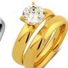 1.00 CTW Cubic Zirconia Bridal Ring Set in Gold Plating