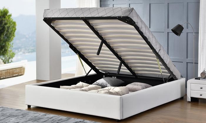 lit coffre simili cuir groupon. Black Bedroom Furniture Sets. Home Design Ideas