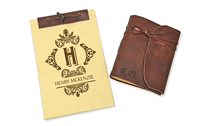 up to 83 off personalized leather notebooks groupon