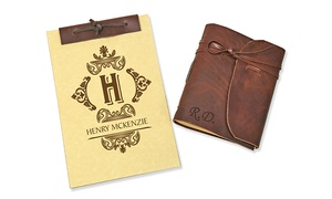 Monogram Online: Genuine Leather-Bound Journal or Antique-Style Notebook from Monogram Online (Up to 93% Off)