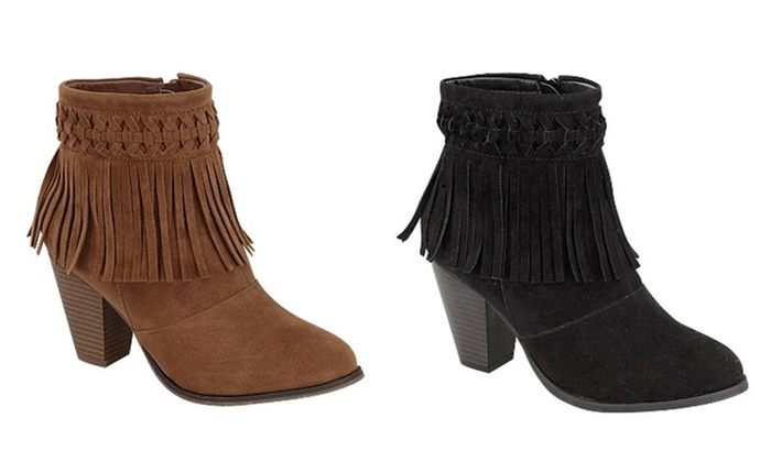 Mata Shoes Women's Fringe Ankle Booties with Side Zipper