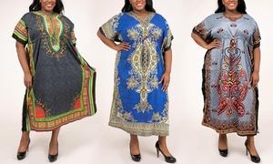 Women's African-Inspired Dashiki Caftan Dress
