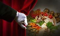 Vegetarisches Menü mit 3 oder 4 Gängen im Dunkelrestaurant unsicht-Bar