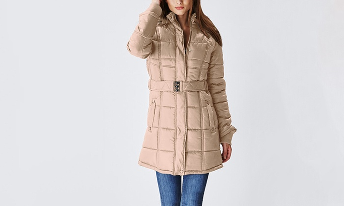 Juniors' Khaki Quilted Puffer Jackets
