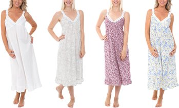 Alexander Del Rossa Women's 100% Cotton Sleeveless Lawn Nightgown