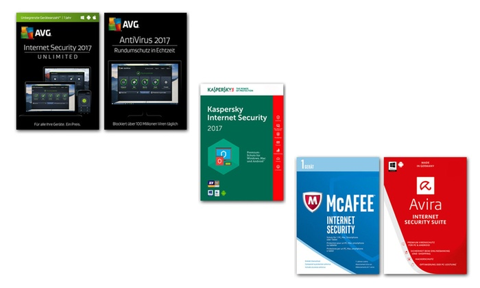 mysoftware media GmbH: Internet Security AVG od. Kaspersky od. AVG AntiViruszum Download(bis zu 88% sparen*)